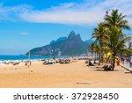 ipanema beach in rio de janeiro.... | Shutterstock . vector #372928450