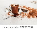 spoon with chocolate mousse  on ... | Shutterstock . vector #372932854