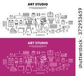 art studio concept with tools... | Shutterstock .eps vector #372953659
