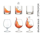 set of glasses with whiskey and ... | Shutterstock .eps vector #372961414