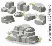 Rock Stone With Grass. Cartoon...