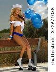 sexy blonde girl on... | Shutterstock . vector #372971038