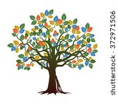 old color tree. vector... | Shutterstock .eps vector #372971506