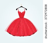 party dress. red vintage style... | Shutterstock .eps vector #372972808