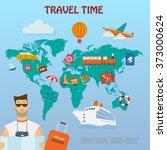 set of vector  flat  travel...   Shutterstock .eps vector #373000624