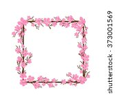 spring frame with cherry... | Shutterstock .eps vector #373001569