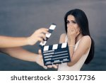 scared actress shooting movie... | Shutterstock . vector #373017736