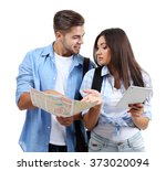 a pair of happy tourists... | Shutterstock . vector #373020094