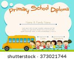 primary school diploma with...   Shutterstock .eps vector #373021744