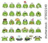 Emotional Cute Frogs Cartoon...