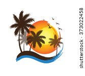 tropical palm trees silhouettes ... | Shutterstock .eps vector #373022458