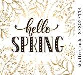 hello spring lettering black on ... | Shutterstock .eps vector #373027114