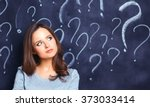 young girl with question mark... | Shutterstock . vector #373033414
