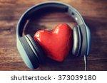 Headphones and heart concept...