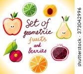 set of geometric vector fruits... | Shutterstock .eps vector #373042996