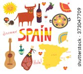 Set of  more than 12Spanish symbols: bull, guitar, map, paella, wine, guitar, olive oil, castanets(music instrument), jamon(Spanish meat) and others. Hola means hello in Spanish. For touristic agency.