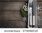 christmas serving cutlery with... | Shutterstock . vector #373048510