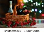 Wine In Basket On Blurred...