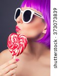 beautiful woman wearing... | Shutterstock . vector #373073839
