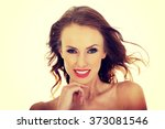 young woman with hair flying. | Shutterstock . vector #373081546