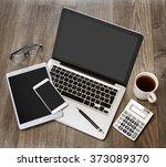 view of a wood businessman's... | Shutterstock . vector #373089370