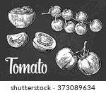 tomato  half and slice.... | Shutterstock .eps vector #373089634