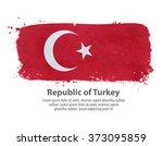 flag of turkey. vector... | Shutterstock .eps vector #373095859