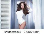sensual young brunette beauty... | Shutterstock . vector #373097584