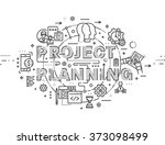 flat style  thin line business... | Shutterstock .eps vector #373098499