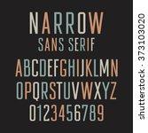narrow sans serif font.... | Shutterstock .eps vector #373103020