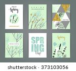 set of artistic creative spring ... | Shutterstock .eps vector #373103056