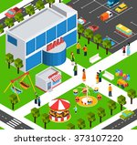 shopping mall center isometric... | Shutterstock . vector #373107220