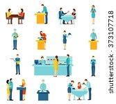 catering service flat icons set  | Shutterstock . vector #373107718