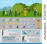 infographic people in garden... | Shutterstock . vector #373107769