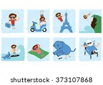 funny comic with a careless guy.... | Shutterstock . vector #373107868