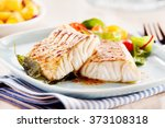 delicious fillets of pollock or ... | Shutterstock . vector #373108318