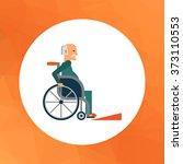 man in wheelchair | Shutterstock .eps vector #373110553