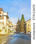 view of road in a town in... | Shutterstock . vector #373112653