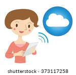 woman to operate the tablet pc | Shutterstock .eps vector #373117258
