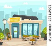 restaurant building city... | Shutterstock .eps vector #373119073