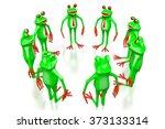 3d cartoon frogs on white... | Shutterstock . vector #373133314