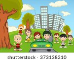 children playing in the park... | Shutterstock .eps vector #373138210