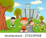children in the park cartoon... | Shutterstock .eps vector #373139548