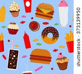 fast food seamless pattern with ... | Shutterstock .eps vector #373139950