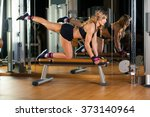 young fitness woman execute... | Shutterstock . vector #373140964