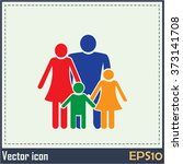 happy family icon in simple... | Shutterstock .eps vector #373141708