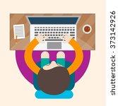 a man working at a laptop   Shutterstock .eps vector #373142926