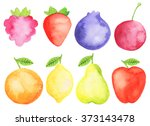 watercolor fruits and berries... | Shutterstock . vector #373143478