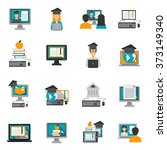 e learning icons flat set   Shutterstock . vector #373149340