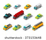 isometric car icons set | Shutterstock . vector #373153648